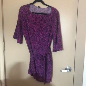 3/4 sleeve patterned dress